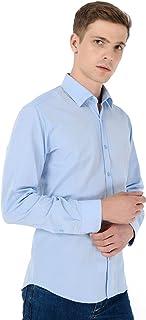 Slim Fit Jakarlı Uzun Kollu Gömlek Buz Mavisi