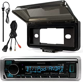 "Kenwood In-Dash Marine Boat Audio Bluetooth USB Receiver with Black Waterproof Protective Cover Bundle Combo with Enrock USB/AUX To RCA Interface Mount Cable, 45"" Radio Antenna Mast"