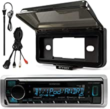 Kenwood In-Dash Marine Boat Audio Bluetooth USB Receiver with Black Waterproof Protective Cover Bundle Combo with Enrock USB/AUX To RCA Interface Mount Cable, 45