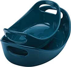 Rachael Ray Ceramics Bubble and Brown Oval Baker Set, 2-Piece, Marine Blue