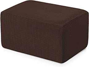 Subrtex Stretch Storage Ottoman Slipcover Protector Spandex Elastic Rectangle Footstool Sofa Slip Cover for Foot Rest Stoo...
