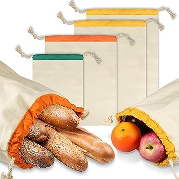 PAMIYO Brotbeutel 4er Set,umweltfreundlicher Brotsack Obst und Gemüsebeutel fürumweltfreundlicher Brotsack mit Kordelzug,Wiederverwendbare Baumwollbeutel aus Bio Baumwolle(GOTS)