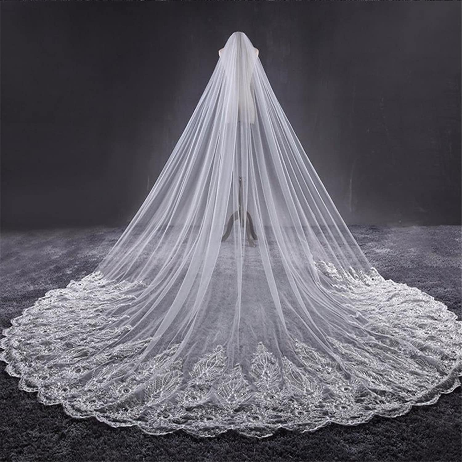 Bridal Veil Cathedral Wedding Veils Long Lace Edge Bride Veil with Comb Wedding Accessories Bride Mantilla Veil