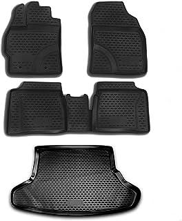 Conjunto completo de forro de ajuste personalizado | Tapete de borracha preta moldado em 3D para todos os climas, 5 peças...