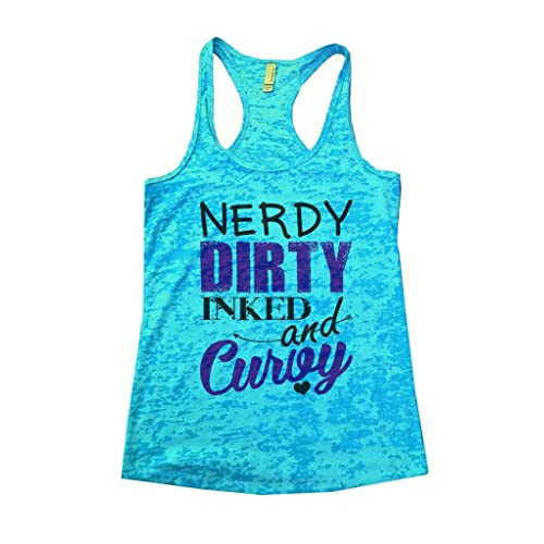 c633ef61c4740 Funny Threadz Womans Burnout Tank Top Tattooed Nerdy Dirty Inked and Curvy  Shirt