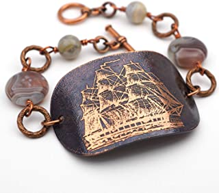 Etched copper sailing ship bracelet with Botswana agate, 7 3/4 inches long
