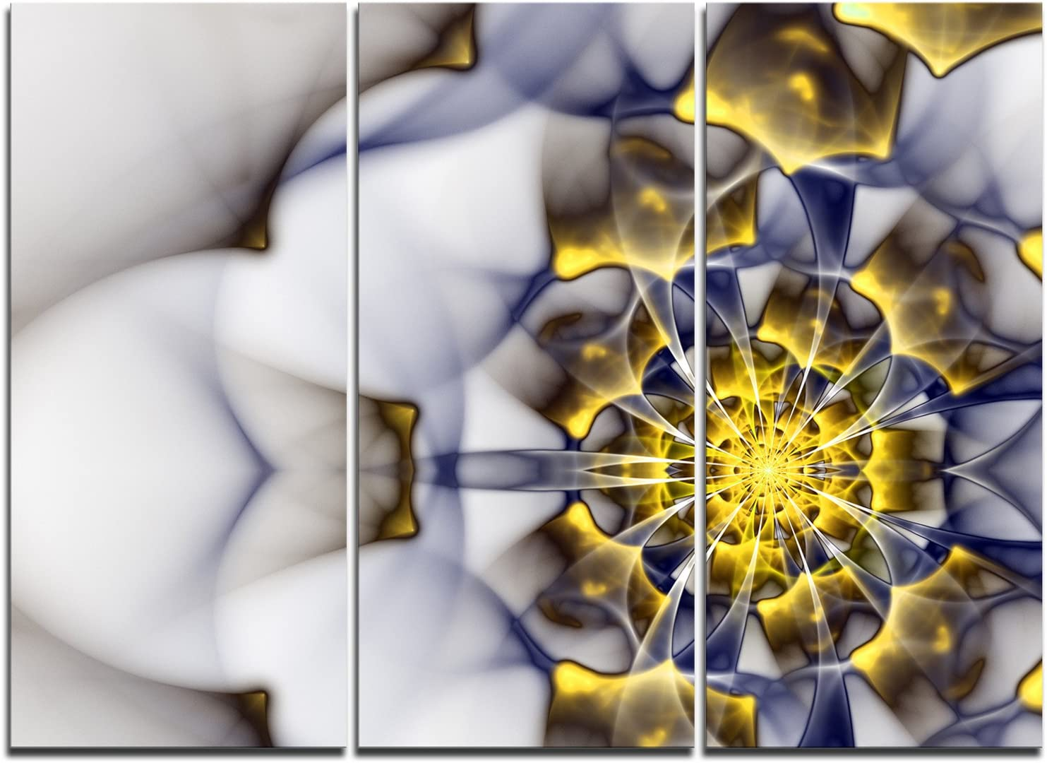 Designart 日本正規代理店品 Unique 業界No.1 Gold and White Floral Can Fractal Flower-Modern