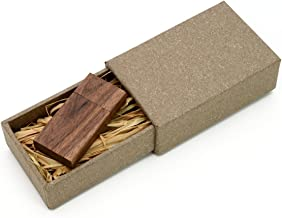 Walnut Wooden 8GB Flash Drive - Natural Eco Vintage Collection USB 2.0 8 GB Thumb Drive - Inserted in a hand made 2 piece paper box with Raffia grass inside