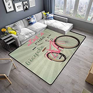 Bicycle,Thin Non-Slip Kitchen Bathroom Carpet 48″x 60″ Retro Featured Pop Art Urban Dated Bike with Expanding Stripes Velocity Decorative Small Rugs Green Pink