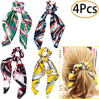 URSKYTOUS 4Pcs Satin Hair Scrunchies Scarf with Bow Chiffon Silk Elastic Hair Bands Knot Scrunchy Hair Ties Ropes Ponytail Holder for Women Girls
