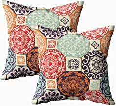 ROOLAYS Christmas Decorative Throw Square Pillow Case Cover 18X18Inch, Cotton Cushion Covers Pattern from Retro Blue Orange Both Sides Printing Invisible Zipper Home Sofa Decor Sets 2 PCS Pillowcase