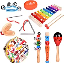Toddler Musical Instrument Toy Set-12Pcs Wooden Percussion Toys Including Tambourine, Shaker Egg, Piccolo, Maracas and More for Kids Preschool Educational, Music Party Supplies