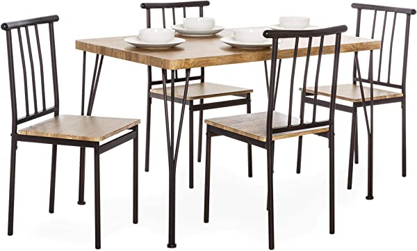 Best Choice Products 5 Piece Metal And Wood Indoor Modern Rectangular Dining Table Furniture Set For Kitchen Dining Room Dinette Breakfast Nook W 4 Chairs Brown