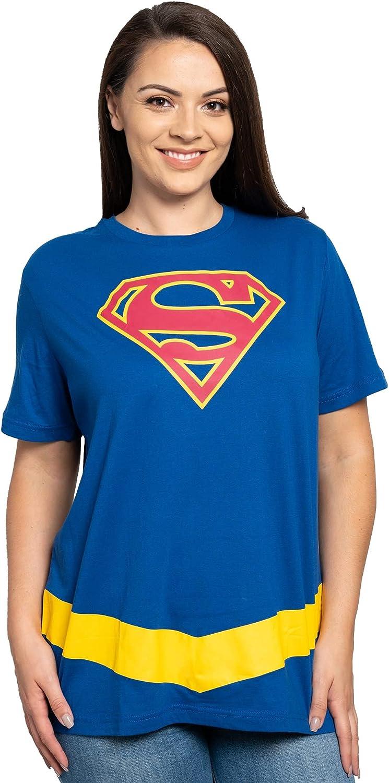 DC Comics Plus Size T-Shirt Wonder Woman or Supergirl Logo Belt Print Costume: Clothing