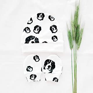 Bernese Mountain Dog Print Organic Newborn Beanie Hat And No Scratch Mittens For Girls And Boys