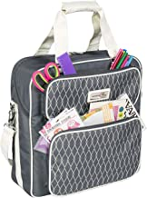 Everything Mary Deluxe Grey & White Scrapbook Carrying Storage Tote - Compatible with Standard IRIS Boxes – Portable Travel Craft Bag with Handle & Shoulder Strap for Pages, Paper