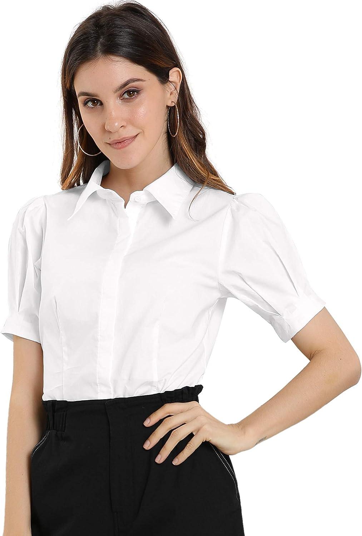 Allegra K Women's Puff Sleeve Collared Cotton Work Office Button Down Shirt