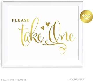 Andaz Press Wedding Party Signs, Metallic Gold Ink Print, 8.5-inch x 11-inch, Please Take One, 1-Pack, Birthday Anniversary Graduation Party Favors Table Sign, Unframed