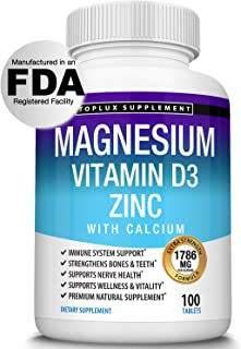 Magnesium Zinc Calcium Vitamin D3 Complex – Essential Minerals Formulated for Immune System Support, Sleep, Muscle Relaxat...