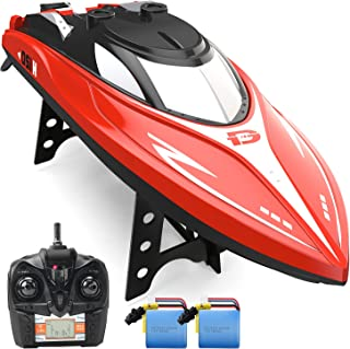 DEERC H120 RC Boat Remote Control Boats for Pools and Lakes,20+ mph 2.4 GHz Fast Racing Boats for Kids and Adults with 2 R...