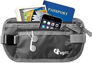 Egoz Travel Money Belt RFID Blocking, Under Clothes Waist Pouch, Hidden Security Passport Wallet for Men and Women, Adjustable Strap Side Clip Washable Light Slim Comfort