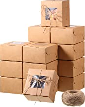 50 Pieces Brown Bakery Box and 80 M Rope with Display Window Paper Board Cardboard Gift Packaging Boxes for Pastries, Cookies, Small Cakes, Pie, Cupcakes, and More(4 x 4 x 2.5 Inch)