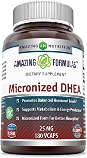 Amazing Formulas Micronized DHEA Dietary Supplement - 25mg Pure - 180 Capsules Per Bottle (Non-GMO,Gluten Free) - Dehydroe...
