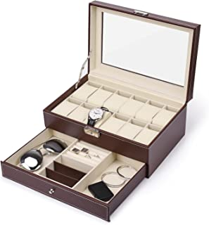 JS NOVA JUNS 12 Slots Watch Box Mens Watch Organizer PU Leather Case with Jewelry Drawer for Storage and Display