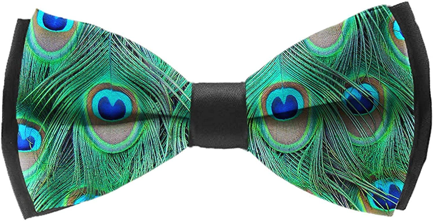 COLORFULSKY Mens Bow Ties Handmade Pre-Tied Adorable Green Peacock Pattern Bow Ties for Men