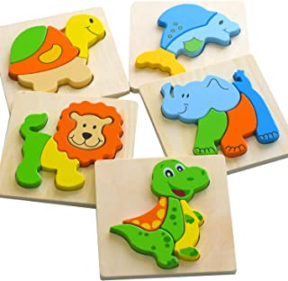 ToyPal Wooden Animal Jigsaw Puzzles for Toddlers   5 Pack Animal Puzzles for 1 2 3 Year Olds   Educational & Learning Montessori Toy   Gift Box Ready for 1 2 3 Year Old Boys & Girls