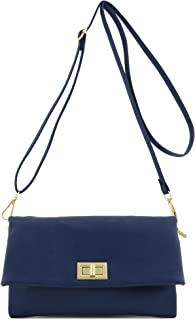 Double Compartment Turnlock Envelope Clutch Crossbody Bag