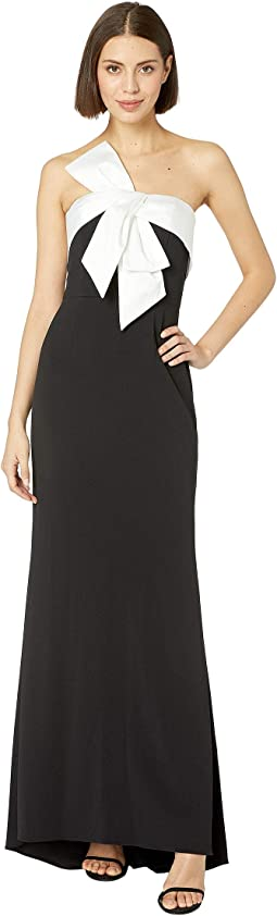 Knit Crepe Evening Gown with Bow Detail