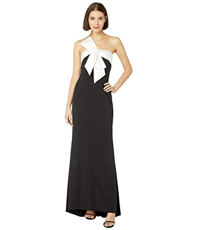 Adrianna Papell Knit Crepe Evening Gown with Bow Detail (Black/Ivory) Women