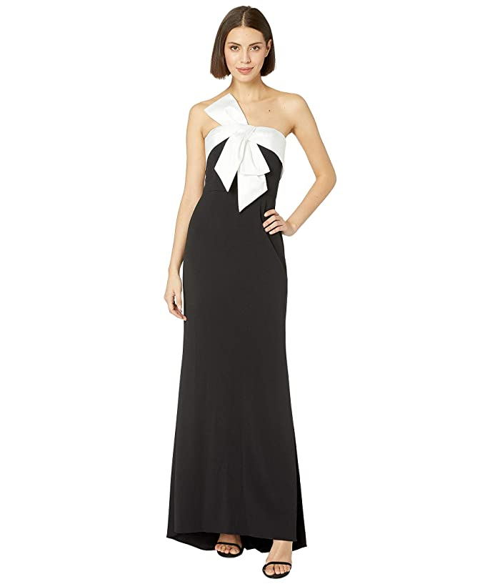 Adrianna Papell  Knit Crepe Evening Gown with Bow Detail (Black/Ivory) Womens Dress