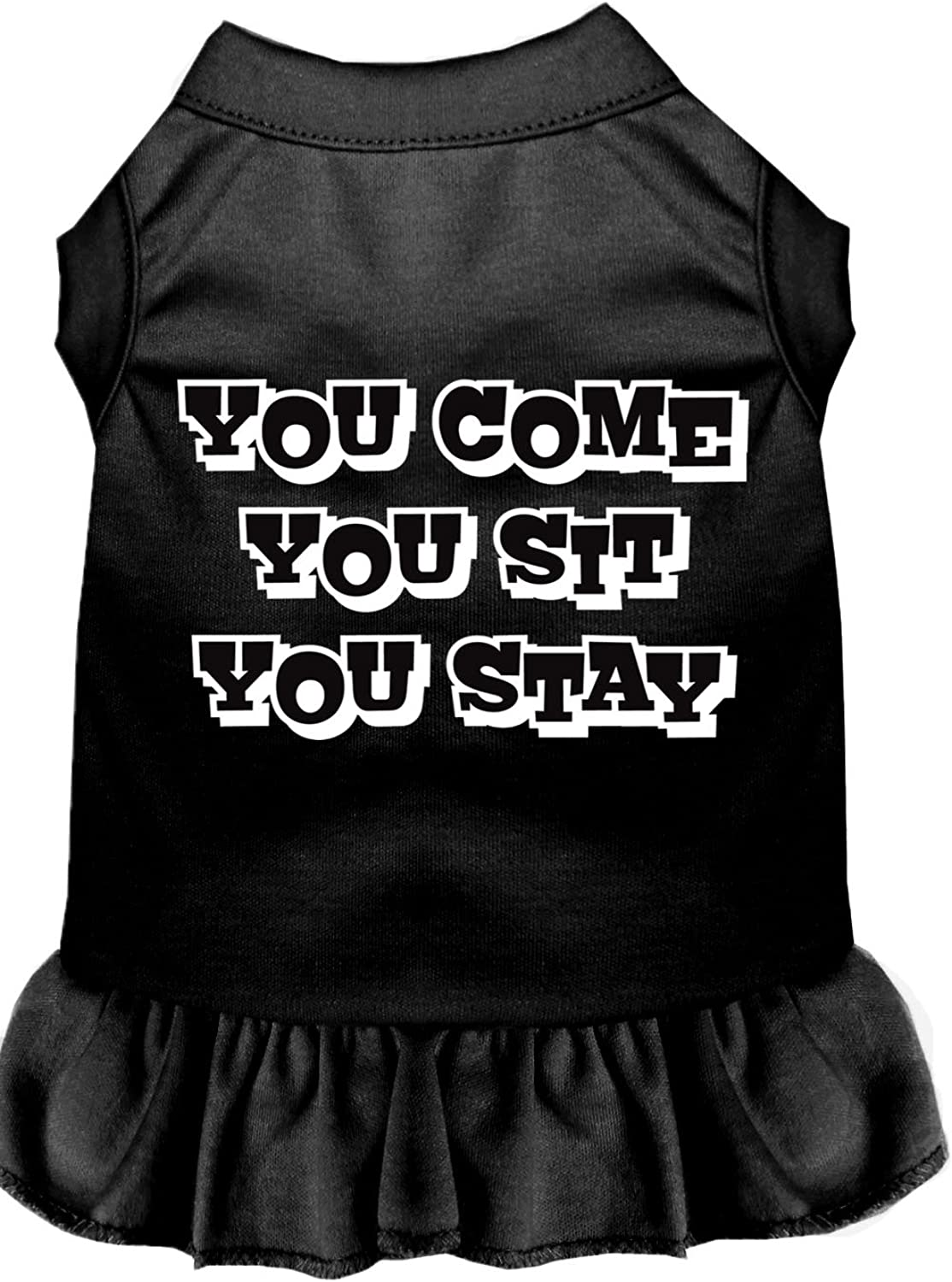 Mirage Pet Products 5818 XLBK You Come, You Sit, You Stay Screen Print Dress, XLarge, Black