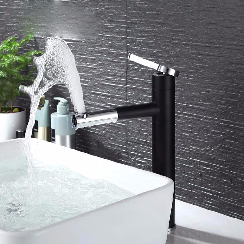 ETERNAL QUALITY Badezimmer Waschbecken Wasserhahn Messing Hahn Waschraum Mischer Mischbatterie Alle Kupfer ziehen schwenkbare Waschbecken schwarz und kalt Wasserhahn B Ti