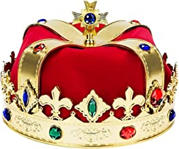 King Gold Crowns Costume – Perfect for Royal Kingdom Party Theme and Decorations - Feel Like a Prince - Jeweled Gold, Red, Blue - One Size Costume Accessories