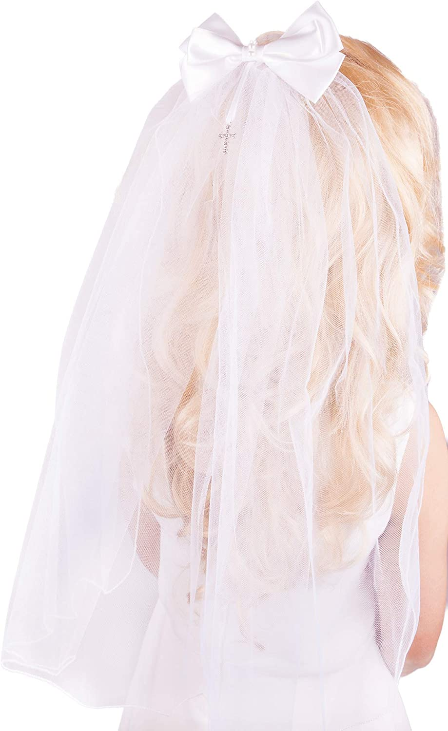 Flora Girl's White First Holy Communion/Confession Veil with Diamante Cross Bow, 21