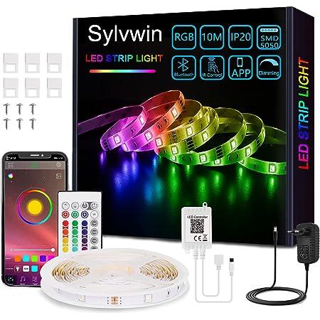 Sylvwin Ruban LED 10m,Bande LED RGB 5050 avec 24 Touches Télécommande, Contrôlé par APP du Bluetooth, Synchroniser avec Rythme de Musique pour Fête Décor pour la Maison Chambre Bar
