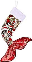 uideazone 24 Inches Christmas Stocking Mermaid Tail Hanging Stocking Handicraft Xmas Tree Decoration Holiday Ornaments Christmas Cat