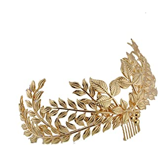 Eseres Gold Leaf Hair Crown Wedding Hair Jewelry with Combs for Women
