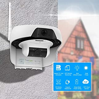 XYM 720P Cámara IP WiFi con Alimentación Solar Cámara De Seguridad Activada por Movimiento Soporte De Almacenamiento En La Nube Tarjeta SD Incorporada De 16GB Impermeable