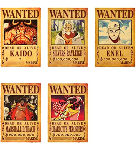 Weeck Anime One Piece Luffy Wanted Home Decor Cosplay Wall Poster Set 1