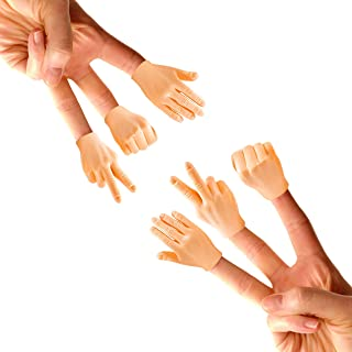 Daily Portable Tiny Hands (Rock, Paper, Scissors) - 6 Pack - Fist Bump, Peace Sign, and High Five Mini Hand Puppet