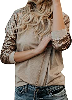 Winwinus Women Patchwork O-Neck Sequin Relaxed Long Sleeve Tops Blouses