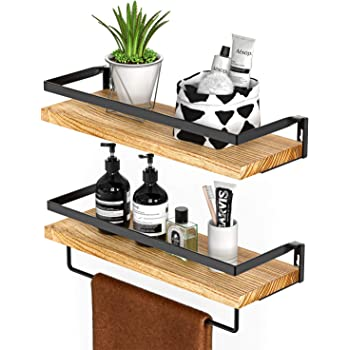 Amada Rustic Floating Shelves Wall Mounted, Solid Paulownia Wood Set of 2 for Kitchen, Bathroom, and Bedroom, Decorative Storage Shelf with Removable Towel Holder, Strong Black Metal Frame