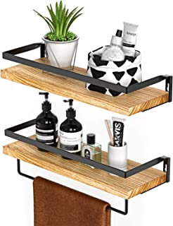 Best Amada Rustic Floating Shelves Wall Mounted, Solid Paulownia Wood Set of 2 for Kitchen, Bathroom, and Bedroom, Decorative Storage Shelf with Removable Towel Holder, Strong Black Metal Frame Review