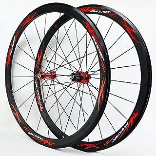 40MMフラットスポークストリップ超軽量シールドベアリングロードバイクホイールセット700Cホイール自転車ホイール11スピードC Vブレーキ