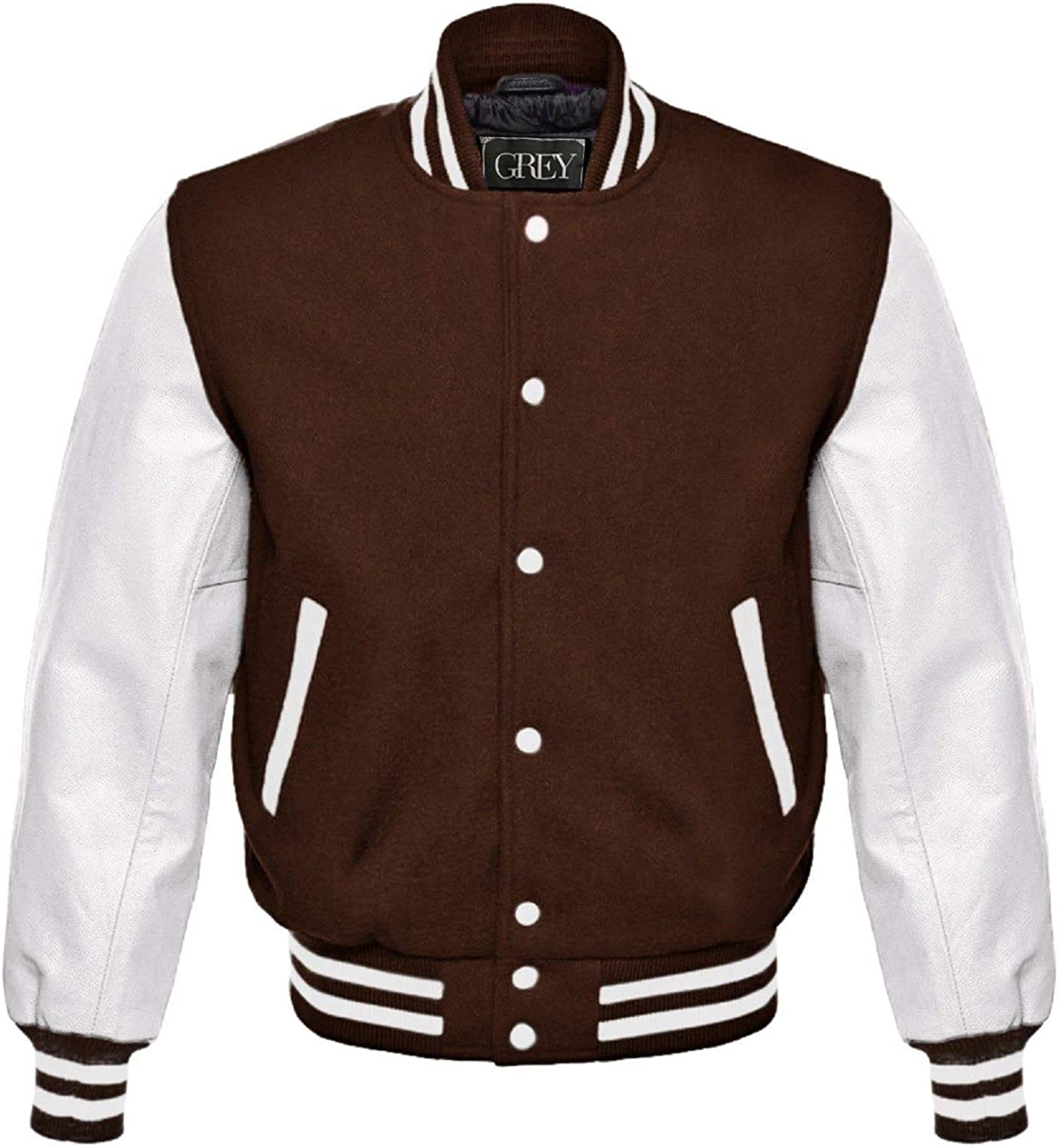 GREY Brand Varsity Jacket, Wool Body with Leather Arms Letterman Baseball Unique & Stylish (7XL) (XS, Royal Blue-White/Red Strips) (2XL, Brown-White)