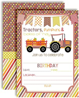 Fall Tractor with Pumpkins Birthday Party Invitations for Girls, 20 5